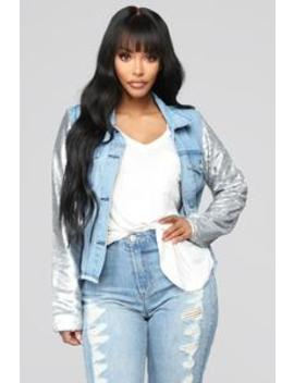 Sequin Walk Denim Jacket   Light Wash by Fashion Nova