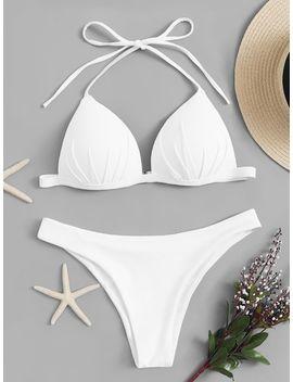 Triangle Top With Cheeky Bikini Set by Sheinside