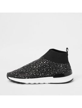 Girls Black Embellished Sock Runner Trainers by River Island