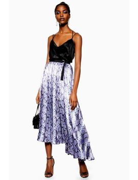 Snake Satin Pleat Midi Skirt by Topshop