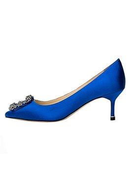 Merumote Women's Satin Diamonds Rhinestones Pumps Middle Heels Pumps by Merumote