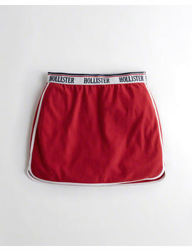 Logo Curved Hem Fleece Skirt by Hollister