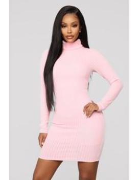 I'll Be Here Ribbed Mini Dress   Pink by Fashion Nova