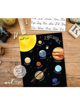 Solar System Planets Poster Print Instant Download 8x10, 16x20 Diy Printable, Outer Space Poster Decor, Homeschool Print, Stars Moon Sun by Etsy