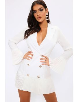 White Pleated Hem Miltary Blazer Dress by I Saw It First