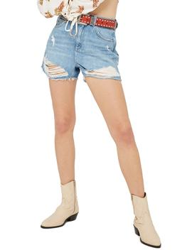 Ripped Denim Mom Shorts by Topshop
