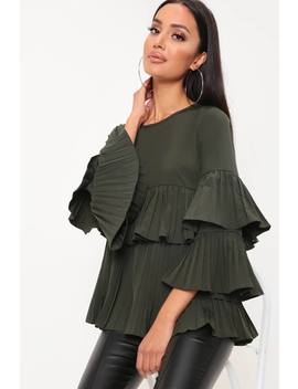Khaki Pleated Long Sleeve Top by I Saw It First