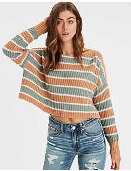 Ae Striped Crop Pullover Sweater by American Eagle Outfitters