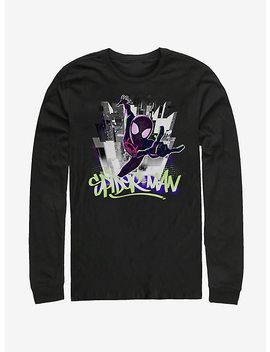 Marvel Spider Man Spider Verse Brooklyn Graffiti Long Sleeve T Shirt by Hot Topic