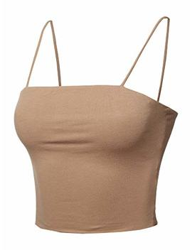 Made By Emma Women's Causal Cute Sexy Solid Straight Neck Double Layer Cami Crop Top by Made By Emma