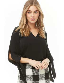 Woven Split Sleeve Top by Forever 21