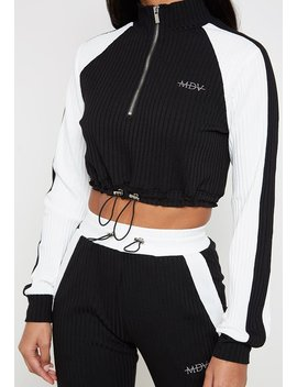 Ribbed Track Top   Black/White by Maniere De Voir
