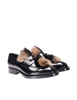 Men's Brushed Leather Moccasins by Prada