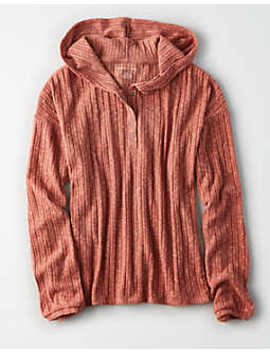 Ae Plush Rib Henley Hoodie by American Eagle Outfitters
