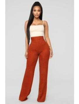 Pay Attention Fuzzy Wide Leg Pant   Rust by Fashion Nova