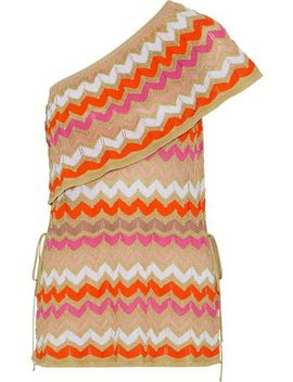 One Shoulder Crochet Knit Cotton Blend Top by M Missoni