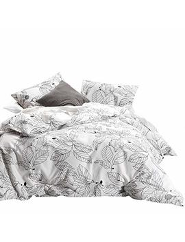 Wake In Cloud   Tree Comforter Set, 100 Percents Cotton Fabric With Soft Microfiber Fill Bedding, Black Branches Leaves Pattern Printed On White (3pcs, Queen Size) by Wake In Cloud