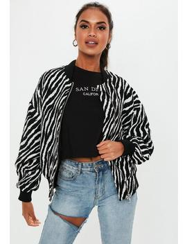 Monochrome Zebra Bomber Jacket by Missguided