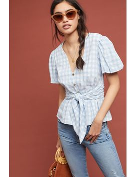 Gingham Puff Sleeved Blouse by Maeve