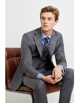 Moss 1851 Tailored Fit Grey Twill Suit by Moss Bros