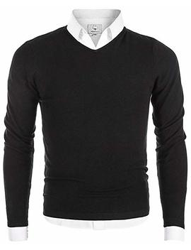 Mocotono Men's V Neck Long Sleeve Pullover Casual Sweater by Mocotono