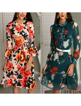 2018 Spring Women Floral Chiffon Long Sleeve Casual Party Vintage Boho Maxi Dress by Itfabs