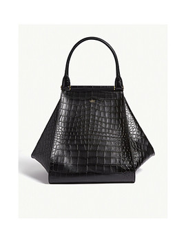 Croc Embossed Leather Maxi Shopper Bag by Max Mara