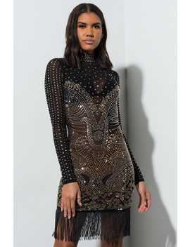 Show Stopper Fringe Hem Beaded Mini Dress by Akira