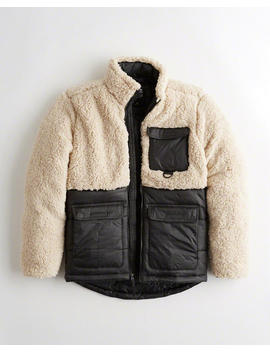Sherpa Mockneck Utility Jacket by Hollister