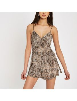 Brown Snake Print Plisse Playsuit by River Island