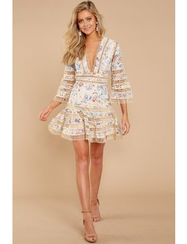 Happiness Is Key Cream Print Dress by Athina