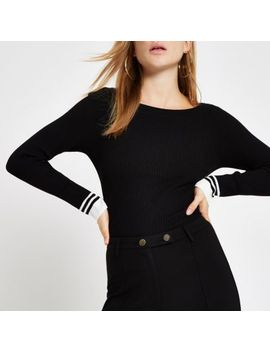 Black Tipped Boat Neck Top by River Island