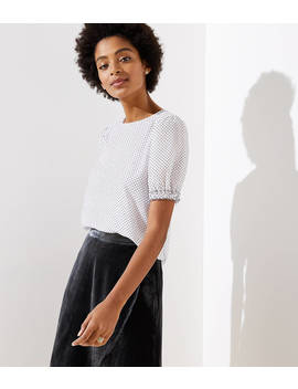 Dotted Puff Sleeve Top by Loft