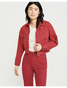 Cropped Red Denim Jacket by Abercrombie & Fitch