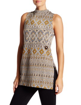 Woven Mock Neck Tunic by Romeo & Juliet Couture