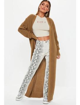 Camel Long Maxi Knitted Cardigan by Missguided