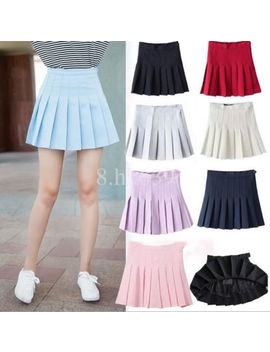 Women's Tennis High Waist Plain Skater Flare Pleated Short Mini Short Skirts Lot by Unbranded