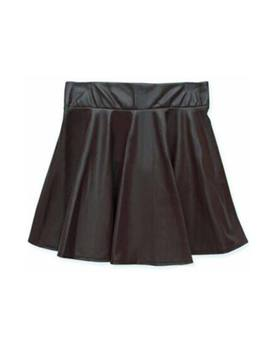 Womens High Waist Pu Leather Skater Mini Skirts Solid Color Short Pleated Skirts by Unbranded