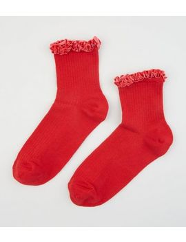 Red Velvet Frill Trim Ribbed Socks by New Look