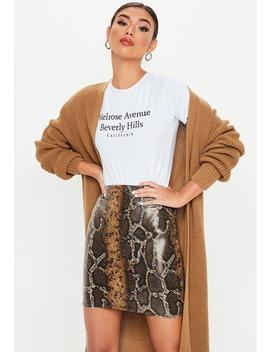 Brown Snake Print Wet Look Mini Skirt by Missguided