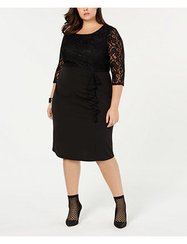 Trendy Plus Size Lace Ruffle Dress by Love Squared