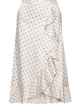Dufort Polka Dot Silk Blend Charmeuse Skirt by Ganni