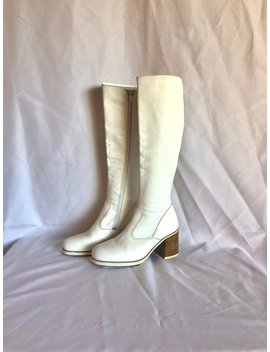 90's Zodiac White Leather Knee Hi Boots Sz 8 by Etsy