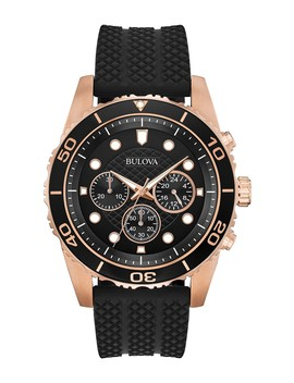 Men's Chronograph Quartz Black Silicone Strap Watch, 43mm by Bulova