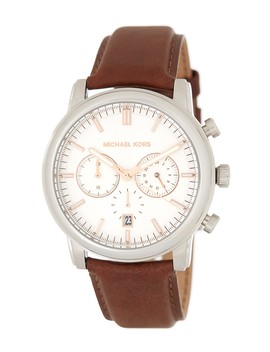 Pennant Chronograph Leather Strap Watch, 43mm by Michael Kors