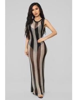 I'm On Vacation Sheer Dress   Black/Gold by Fashion Nova
