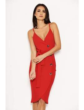 Red Button Front Detail Tie Dress by Ax Paris