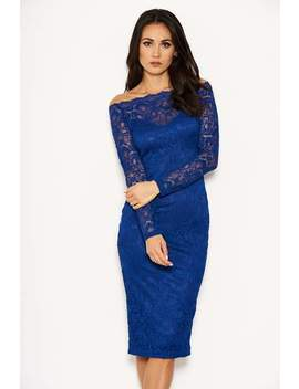 Blue Lace Long Sleeved Midi Dress by Ax Paris