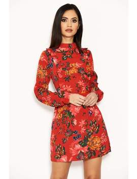 Red Floral Long Sleeve Frill Dress by Ax Paris