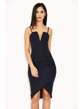 Navy Notch Front Wrap Dress by Ax Paris